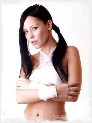 Skinny brunette bound with bandages