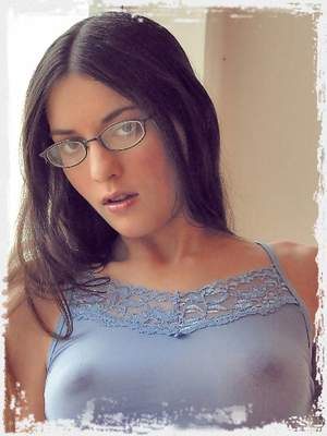 Larissa Fox braless teasing in her sheer, blue top pinching her sweet, stiff nipples