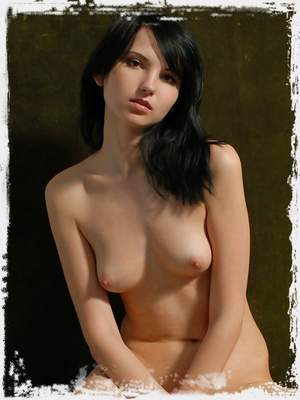Young brunet plays with yellow apples and with you showing her body.